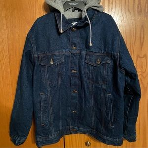 Vintage Jean jacket with gray cotton hood